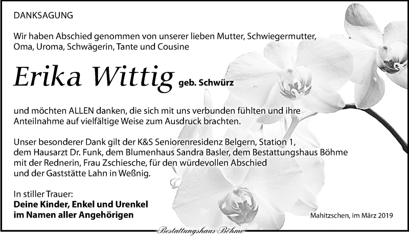 Traueranzeige für Erika Wittig vom 16.03.2019 aus Torgauer Zeitung