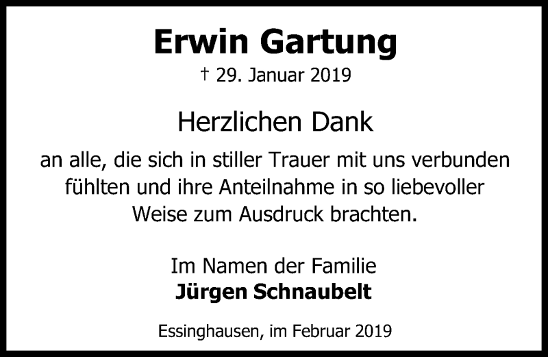 Traueranzeige für Erwin Gartung vom 16.02.2019 aus Peiner Allgemeine Zeitung