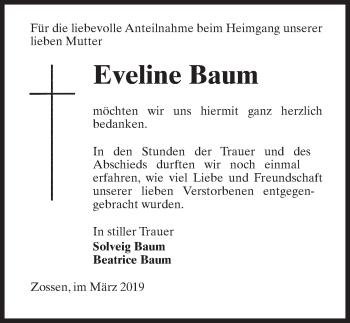 Traueranzeige für Eveline Baum vom 30.03.2019 aus Märkischen Allgemeine Zeitung