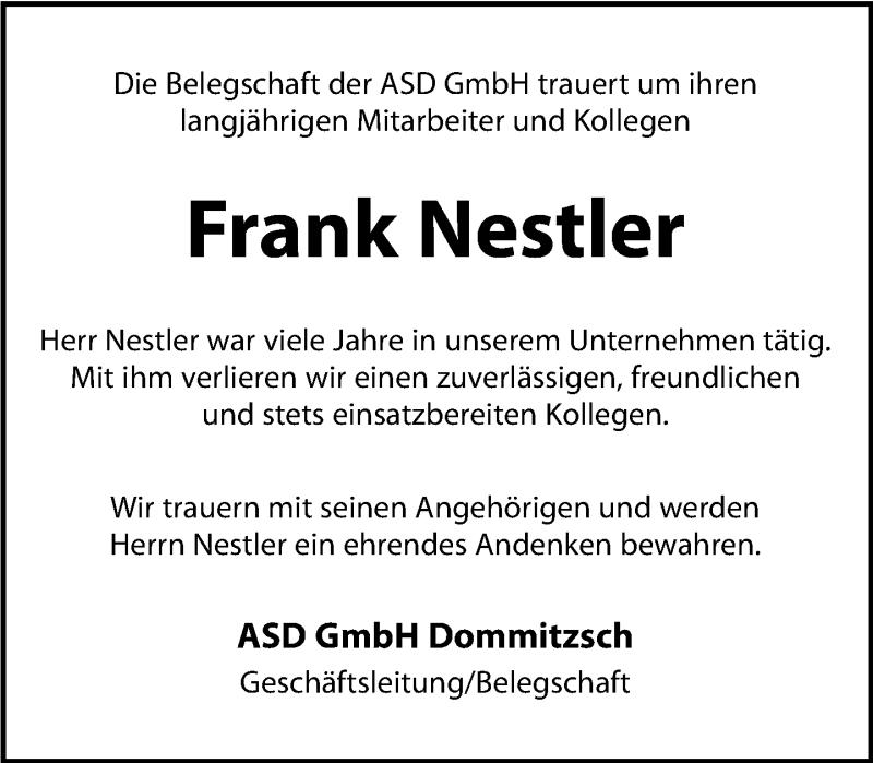 Traueranzeige für Frank Nestler vom 07.03.2019 aus Torgauer Zeitung