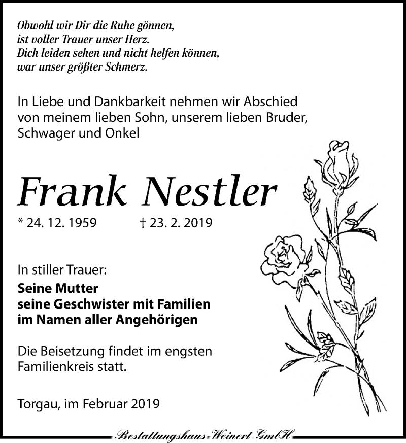 Traueranzeige für Frank Nestler vom 02.03.2019 aus Torgauer Zeitung