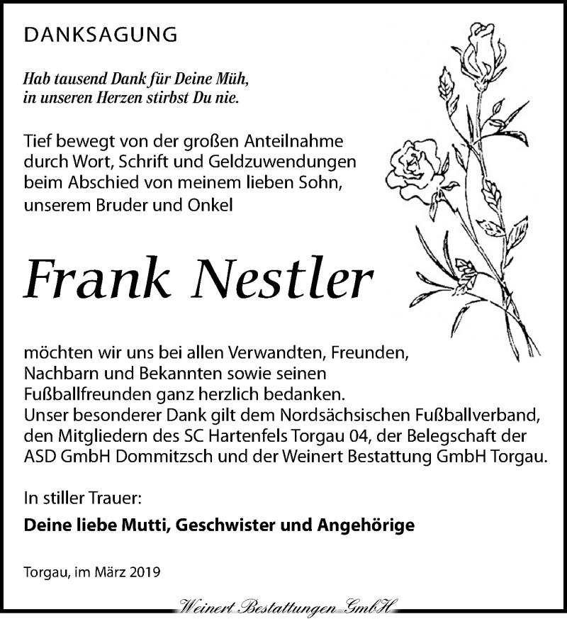 Traueranzeige für Frank Nestler vom 30.03.2019 aus Torgauer Zeitung