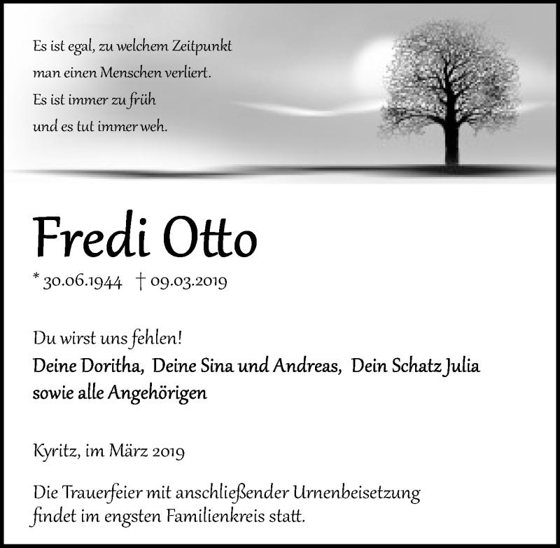 Traueranzeige für Fredi Otto vom 13.03.2019 aus Märkischen Allgemeine Zeitung