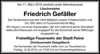 Traueranzeige für Friedrich Gefäller vom 14.03.2019 aus Peiner Allgemeine Zeitung