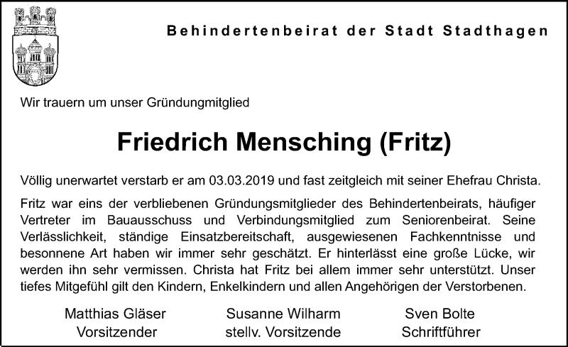 Traueranzeige für Friedrich Mensching vom 09.03.2019 aus Schaumburger Nachrichten