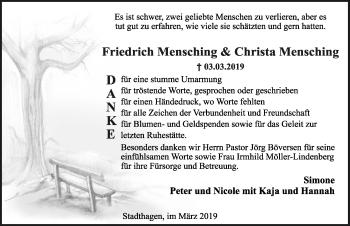 Traueranzeige für Friedrich Mensching vom 30.03.2019 aus Schaumburger Nachrichten