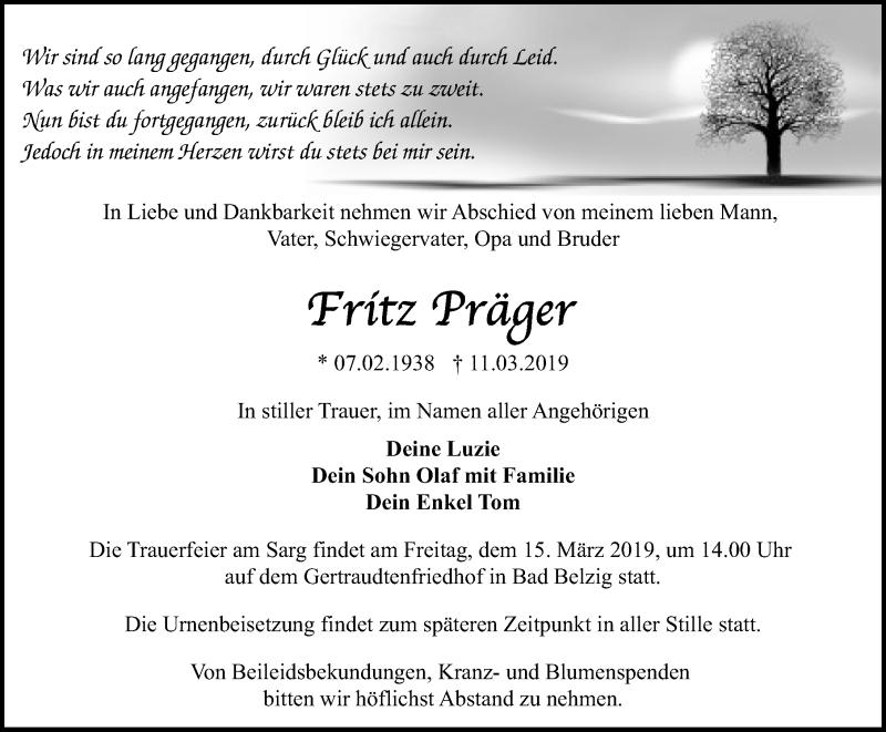 Traueranzeige für Fritz Präger vom 12.03.2019 aus Märkischen Allgemeine Zeitung