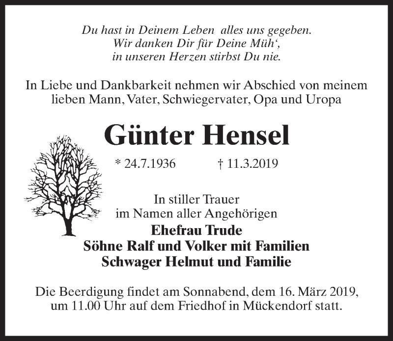 Traueranzeige für Günter Hensel vom 14.03.2019 aus Märkischen Allgemeine Zeitung