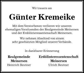 Traueranzeige für Günter Kremeike vom 15.03.2019 aus Aller Zeitung