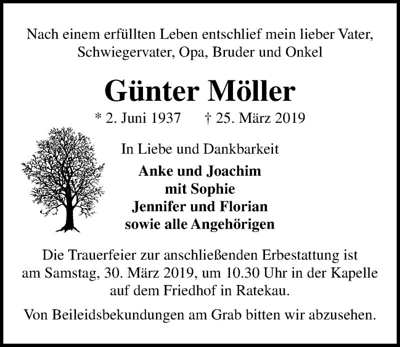 Traueranzeige für Günter Möller vom 28.03.2019 aus Lübecker Nachrichten