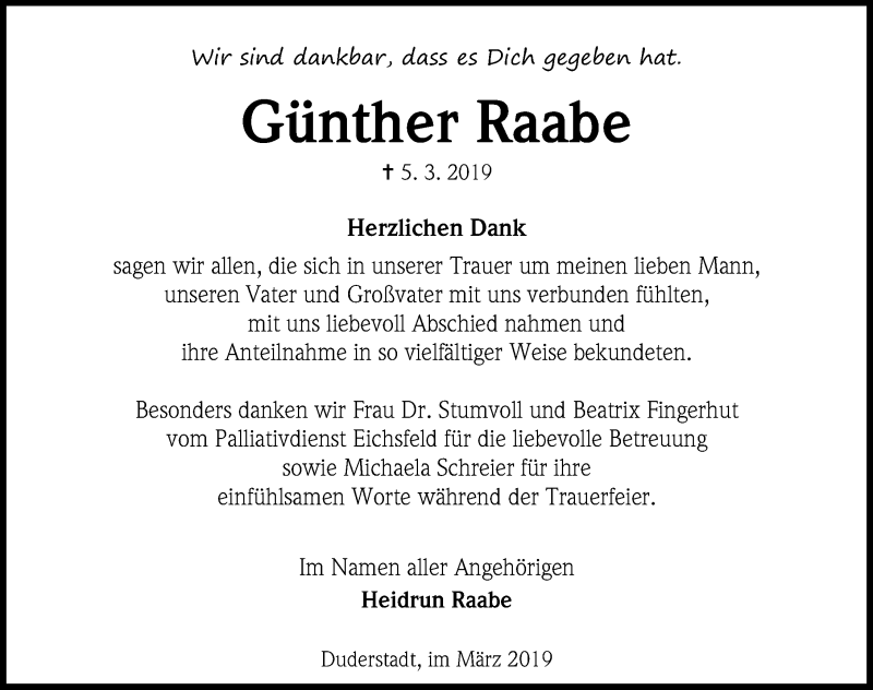 Traueranzeige für Günther Raabe vom 30.03.2019 aus Eichsfelder Tageblatt