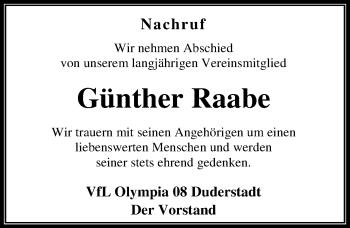 Traueranzeige für Günther Raabe vom 15.03.2019 aus Eichsfelder Tageblatt