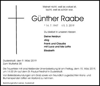 Traueranzeige für Günther Raabe vom 09.03.2019 aus Eichsfelder Tageblatt