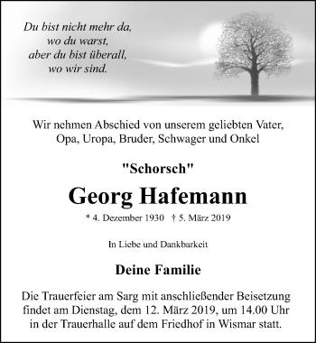Traueranzeige für Georg Hafemann vom 09.03.2019 aus Ostsee-Zeitung GmbH