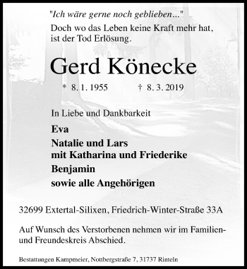 Traueranzeige für Gerd Könecke vom 16.03.2019 aus Schaumburger Nachrichten