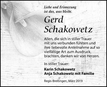 Traueranzeige für Gerd Schakowetz vom 30.03.2019 aus Leipziger Volkszeitung