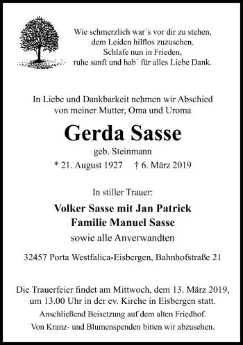 Traueranzeige für Gerda Sasse vom 08.03.2019 aus Schaumburger Nachrichten