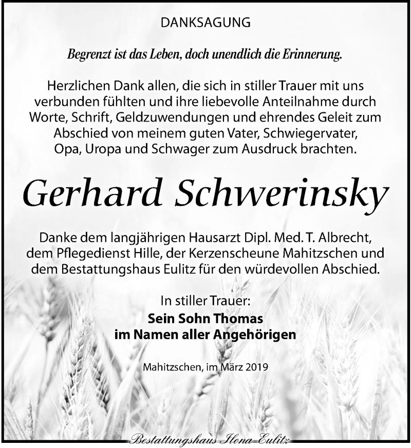 Traueranzeige für Gerhard Schwerinsky vom 09.03.2019 aus Torgauer Zeitung