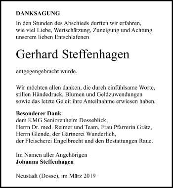 Traueranzeige für Gerhard Steffenhagen vom 30.03.2019 aus Märkischen Allgemeine Zeitung