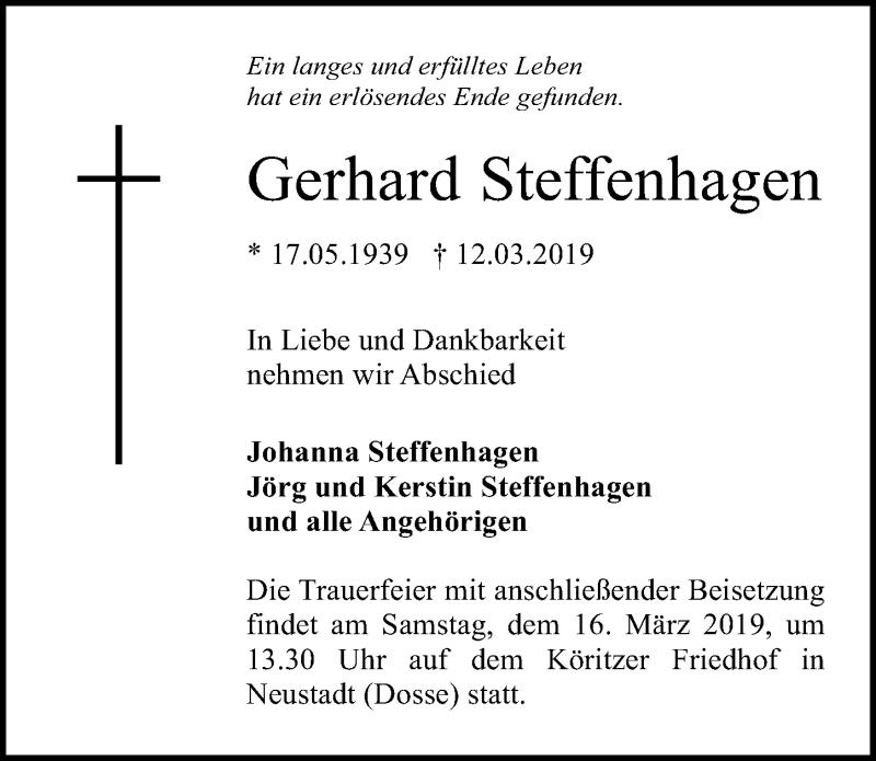 Traueranzeige für Gerhard Steffenhagen vom 14.03.2019 aus Märkischen Allgemeine Zeitung
