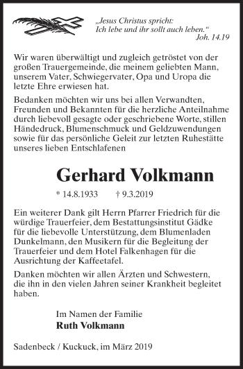 Traueranzeige für Gerhard Volkmann vom 30.03.2019 aus Märkischen Allgemeine Zeitung