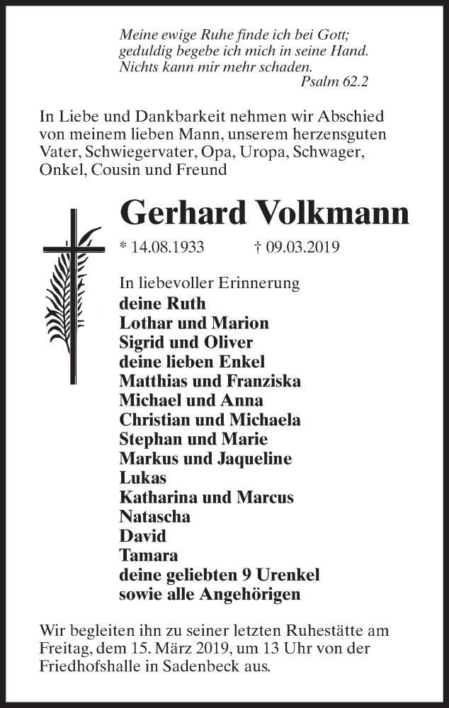 Traueranzeige für Gerhard Volkmann vom 13.03.2019 aus Märkischen Allgemeine Zeitung