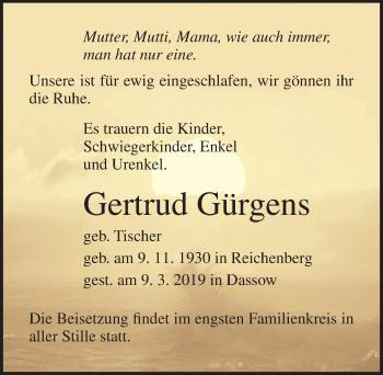 Traueranzeige für Gertrud Gärgens vom 13.03.2019 aus Ostsee-Zeitung GmbH