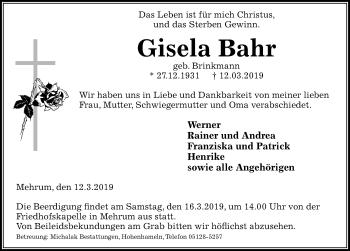 Traueranzeige für Gisela Bahr vom 14.03.2019 aus Peiner Allgemeine Zeitung