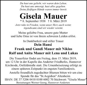 Traueranzeige für Gisela Mauer vom 13.03.2019 aus Hannoversche Allgemeine Zeitung/Neue Presse