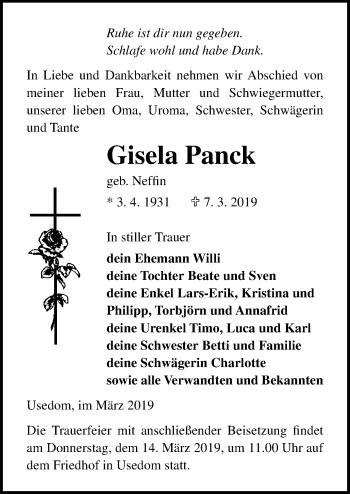 Traueranzeige für Gisela Panck vom 13.03.2019 aus Ostsee-Zeitung GmbH