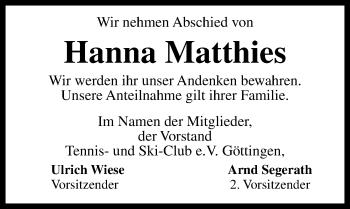 Traueranzeige für Hanna Matthies vom 22.03.2019 aus Göttinger Tageblatt