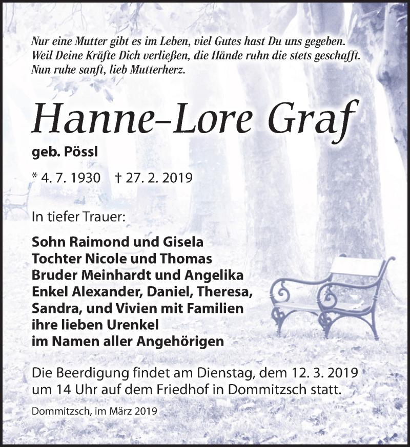 Traueranzeige für Hanne-Lore Graf vom 05.03.2019 aus Torgauer Zeitung