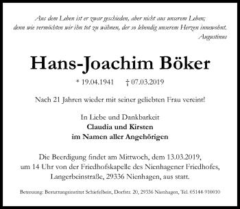 Traueranzeige für Hans Joachim Böker vom 12.03.2019 aus Hannoversche Allgemeine Zeitung/Neue Presse