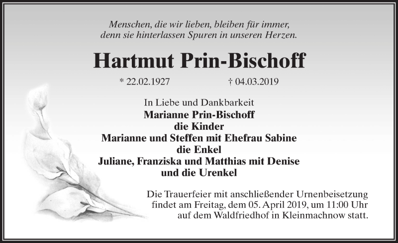 Traueranzeige für Hartmut Prin-Bischoff vom 16.03.2019 aus Märkischen Allgemeine Zeitung