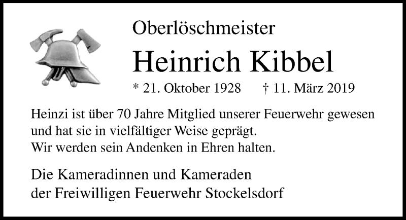 Traueranzeige von  Heinrich  Kibbel