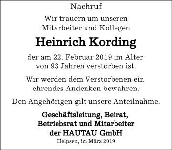 Traueranzeige für Heinrich Kording vom 02.03.2019 aus Schaumburger Nachrichten