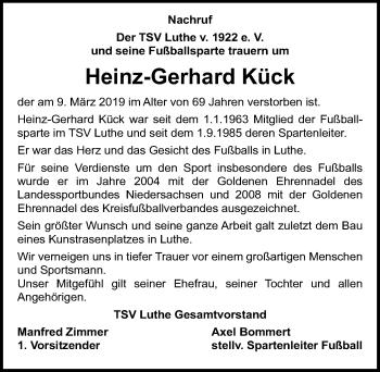 Traueranzeige für Heinz-Gerhard Kück vom 14.03.2019 aus Hannoversche Allgemeine Zeitung/Neue Presse