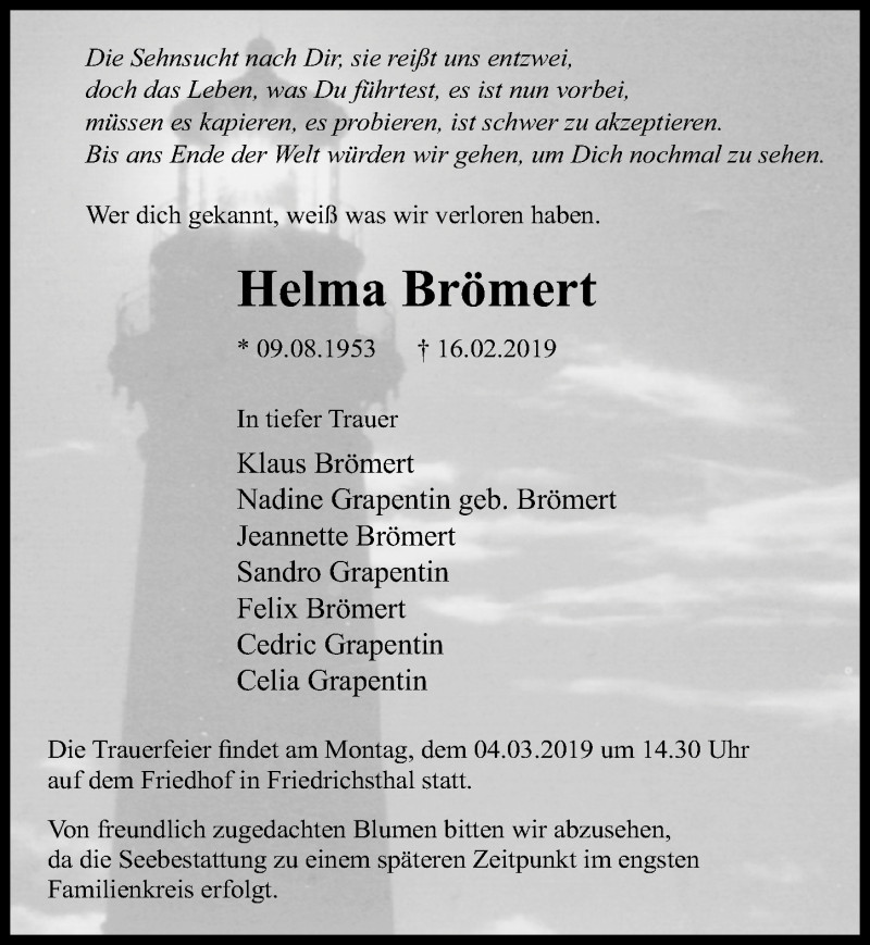 Traueranzeige für Helma Brömert vom 23.02.2019 aus Märkischen Allgemeine Zeitung