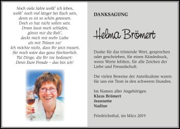 Traueranzeige für Helma Brömert vom 16.03.2019 aus Märkischen Allgemeine Zeitung