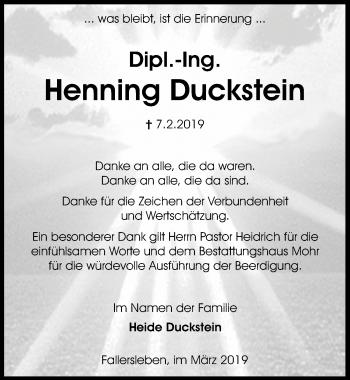 Traueranzeige für Henning Duckstein vom 14.03.2019 aus Aller Zeitung