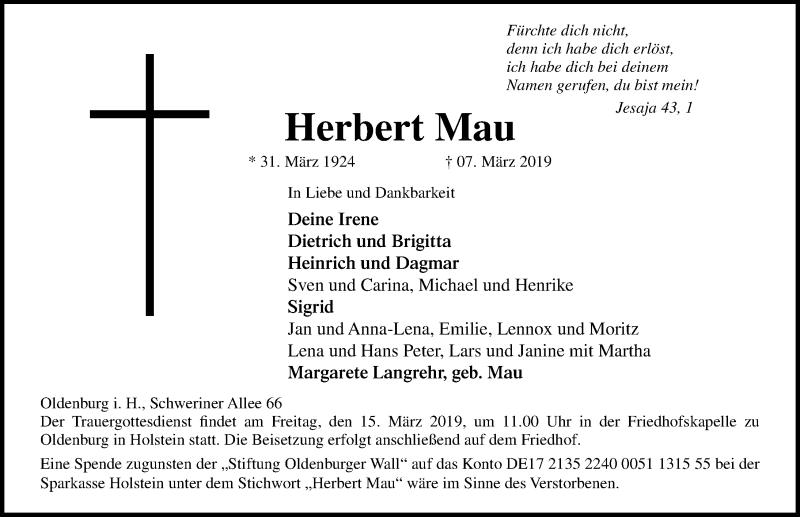 Traueranzeige für Herbert Mau vom 12.03.2019 aus Lübecker Nachrichten