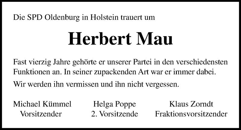 Traueranzeige für Herbert Mau vom 13.03.2019 aus Lübecker Nachrichten