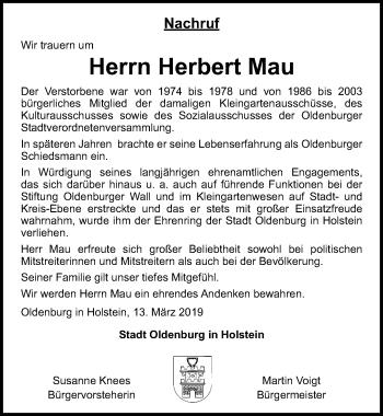 Traueranzeige für Herbert Mau vom 15.03.2019 aus Lübecker Nachrichten
