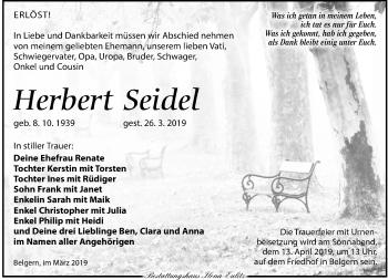 Traueranzeige für Herbert Seidel vom 30.03.2019 aus Torgauer Zeitung