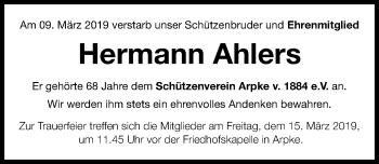 Traueranzeige für Hermann Ahlers vom 13.03.2019 aus Hannoversche Allgemeine Zeitung/Neue Presse