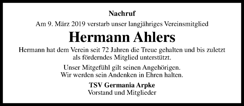 Traueranzeige für Hermann Ahlers vom 16.03.2019 aus Hannoversche Allgemeine Zeitung/Neue Presse