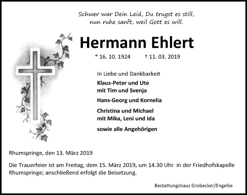Traueranzeige für Hermann Ehlert vom 13.03.2019 aus Eichsfelder Tageblatt