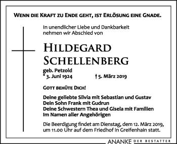 Traueranzeige für Hilegard Schellenberg vom 09.03.2019 aus Leipziger Volkszeitung