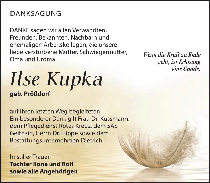 Traueranzeige für Ilse Kupka vom 23.03.2019 aus Leipziger Volkszeitung