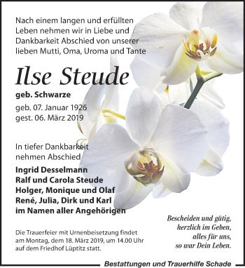 Traueranzeige für Ilse Steude vom 09.03.2019 aus Leipziger Volkszeitung